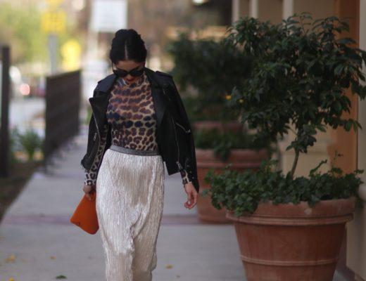 metallic-pleated-skirt-and-leopard